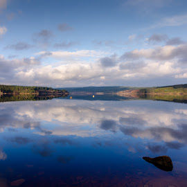 Kielder water reflection by John Haswell - Novices Only Landscapes ( clouds, water, reservoir, res, kielder, reflection, northumberland, trees, woodland, lake )