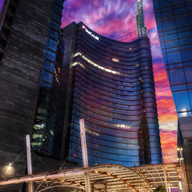 Milan by night by Andrea Conti - Buildings & Architecture Other Exteriors ( piazza gae aulenti, milan, italia, skyscraper, sunset, gae aulenti, cityscape, italy, unicredit, milano )