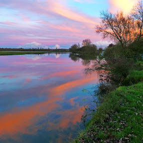 End of the Day by Andrea Clayton - Landscapes Waterscapes ( water, sunset, landscape, river )