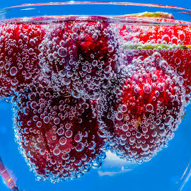 Bubbly Cherries by Jim Downey - Food & Drink Fruits & Vegetables ( water, sparkling, lighting, still life, floating, strawberry, close up, bing cherries )