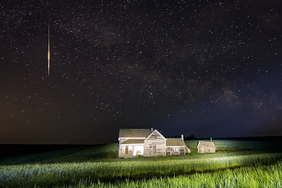 Weber House Falling Star by Scott Wood - Buildings & Architecture Decaying & Abandoned ( palouse, meteor, house, expeditionpalouse, milky way, field, sky, light painting, nxnw2015, weber, stars, crops, night, harvest, explorethefrontier,  )