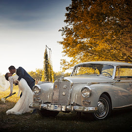 Kissing by the Rolls by Joseph Humphries - Wedding Bride & Groom ( love, car, kissing, married, connecticut, wedding, bride, rustic, groom, rollsroyce )