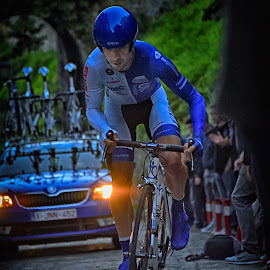 Climbing by Marco Bertamé - Sports & Fitness Cycling ( uphill, climbing, seconds, blue, prologue, effort, race, tour de luxembourg )