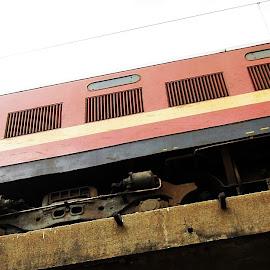 peek-a-boo driver by Venkat Krish - Transportation Trains ( #man, #driver, #train, #engine )