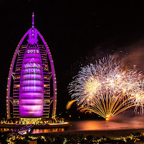 New year 2013 by Jaideep Abraham - News & Events World Events ( light painting, purple, dubai, burj al arab, fireworks, new years eve, celebration )