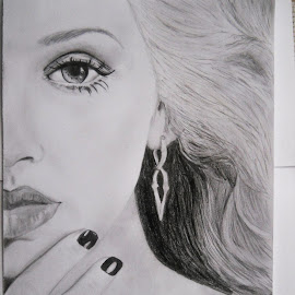 Christina Aguilera by Oiegar Andrei - Drawing All Drawing ( blackandwhite, beauty, christinaaguilera )