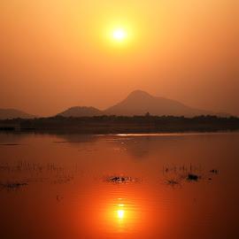 Beautiful Sunset by Sourav Bhattacharya - Landscapes Sunsets & Sunrises ( hills, reflection, waterscape, sunset, evening )