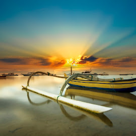 Solitary Boat by Ade Irgha - Transportation Boats ( clouds, explore bali, boats, long exposure, sunrise )