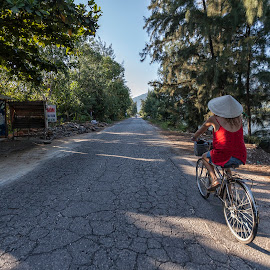 Morning Ride by Steve Badger - Transportation Bicycles ( red, lang co, vietnam, travel, bicycle )
