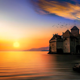 Chillon Castle, Lake Geneva by Jerry Kambeitz - Buildings & Architecture Public & Historical ( lake geneva, sunset, switzerland, chillon, castle )