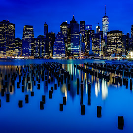 New York Skyline by David Long - City,  Street & Park  Skylines ( skyline, new york, brooklyn )