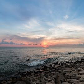 beach sunset by Azad Nechikkade - Landscapes Beaches ( kollam, nature, thirumullavaram, sunset, night, kerala, beach, evening )