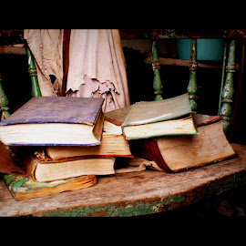 Seat of Learning by Alex Tempest-Mitchell - Novices Only Objects & Still Life ( old books chair age timeless abandoned,  )