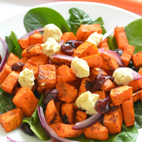Roasted Sweet Potato Salad With Homemade Almond Feta [Vegan, Gluten-Free]