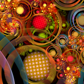 Rings Around The Crackle Bubbles by Peggi Wolfe - Illustration Abstract & Patterns ( abstract, wolfepaw, ring, jwildfire, unique, bright, illustration, fun, digital, bubble, pattern, color, crackle, fractal )