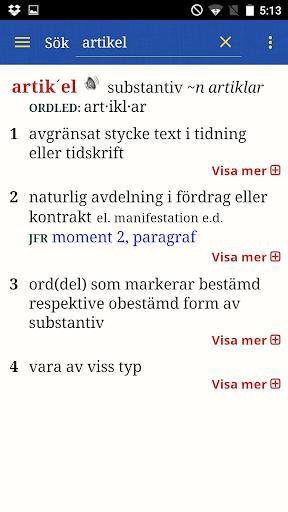 Svensk ordbok - screenshot