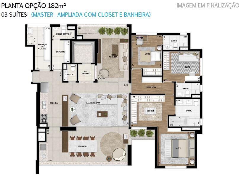 Plana 182 m² do 2 ao 18 Pavimento Finais 1 e 2 Opção + Master Ampliada com Closet e Banheira
