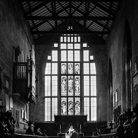 Wedding photography  by Matthew Gavin - Wedding Ceremony ( uk, wedding photography, married, church, black and white, wide angle, wedding, couple, dronfield )