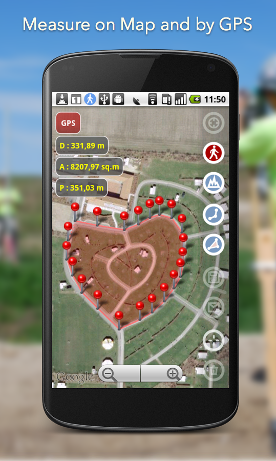 Planimeter - GPS area measure Screenshot 1