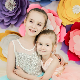 Sisters by Jenny Hammer - Babies & Children Child Portraits ( paper flowers, spring, girls, sisters, cute )