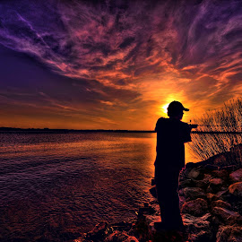 Casting by Derrill Grabenstein - Digital Art People ( tranquil, waterscape, relax, sunset, casting, fishing, tranquility, relaxing )