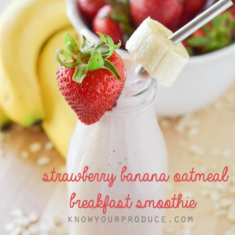 Strawberry Banana Oatmeal Breakfast Smoothie
