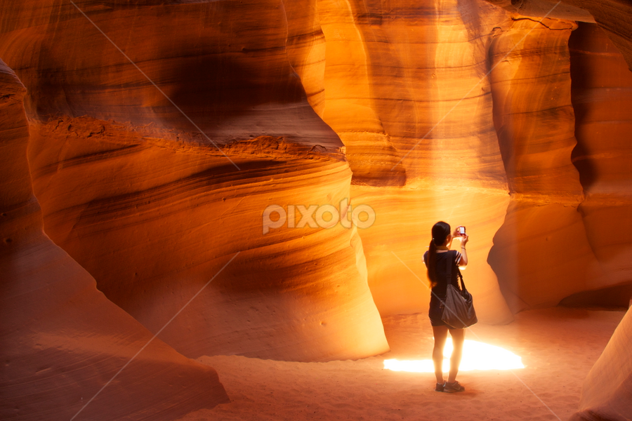 Standing in the Light by Stephan Guenot - Landscapes Deserts ( antelope canyon sunbeam desert navajo page arizona,  )