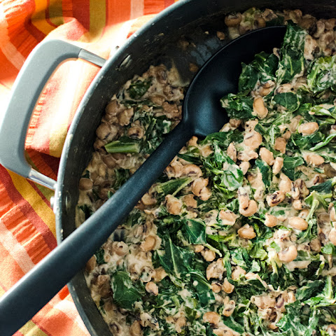 Maple Walnut Glazed Black-Eyed Peas with Collard Greens