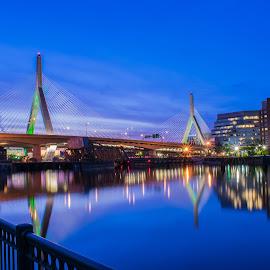 Leonard P. Zakim Bunker Hill Memorial Bridge Boston Mass by Paul Gibson - Buildings & Architecture Bridges & Suspended Structures ( reflection, boston, long exposure, sunrise, bridge,  )
