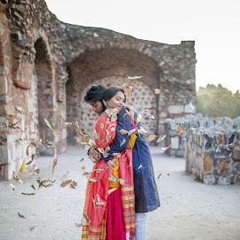 The Embrace by Kshitij Bhaswar - Wedding Bride & Groom ( canon, wedding photography, prewedding, wedding, indian, wedding photographer, canon eos, canon 5d )