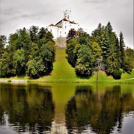 Trakošćan  by Slaven Bandur - Uncategorized All Uncategorized ( green, castle, reflection, nature, woods, water, trees, summer, croatia, hill, cloudy, view, hills, lake )