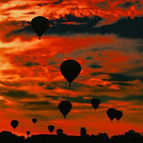 a burning sky by Dejan Gavrilovic - Landscapes Sunsets & Sunrises ( a burning sky blue balloons balloon,  )