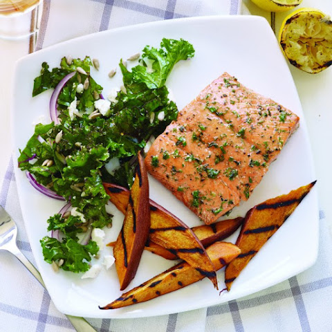 Grilled Cedar Plank Salmon with Sweet Potatoes
