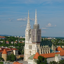 Panoramic View - Zagreb's Cathedral and surrounding  by Iva Marinić - Buildings & Architecture Public & Historical ( sky, landscape photography, view, panoramic, zagreb, clouds, cathedral, photography, architecture )