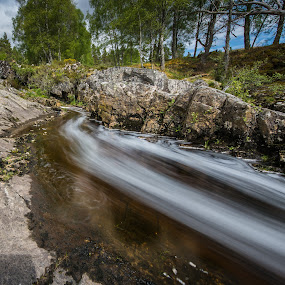 Water trails by Haim Rosenfeld - Landscapes Waterscapes ( exposure, scotland, stream, mountain, europe, colorful, land, stone, rock, north, travel, yellow, landscape, adventure, kingdom, shadow, long exposure, lonely, light, foreground, water, orange, uk, united, celtic, texture, green, colors, image, scottish, river water, brawn, stream of water, scenic, highlands, photo, cascade, outdoor, brown, scenery, stones, stunning, river, britain )