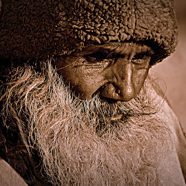 Into Deep Thought.. by Ranjit Kumar Chakraborty - People Portraits of Men ( think, beard, men, people, daylight )