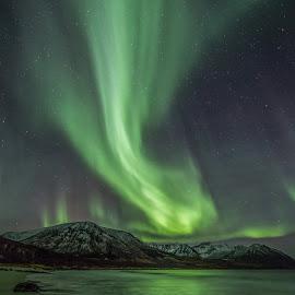 Aurora green by Benny Høynes - Landscapes Waterscapes ( sand, colorful, green, aurora, aurora borealis, seascape )