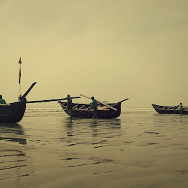 Set for Journey by Sourav Malik - Instagram & Mobile Other ( seashore, boats, silhouettes, fisherman, people )
