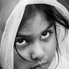 The Little Girl by Georgia Bounia - People Portraits of Women ( faces, girl, black and white, people, portrait,  )