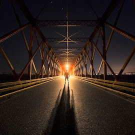 The Return by André Miguel Zeferino Farinha - City,  Street & Park  Night ( bright, road, iron, concrete, shadows, pespective, stars, lines, night, bridge, symmetry, portugal, light, river )