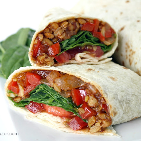 BBQ Tempeh Wraps with Spinach