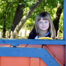 At the Playgrond by Luanne Bullard Everden - Babies & Children Child Portraits ( girls, children, portraits, outside, eyes )