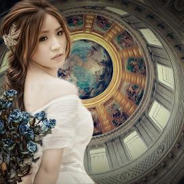 the dome by Kathleen Devai - Digital Art People ( church, woman, beauty, flowers, portrait )