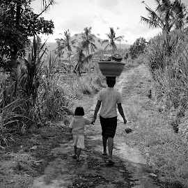Indonesia by Anders Riise - Black & White Street & Candid ( child, bali, palm tree, rice field, mother, grass, black and white, indonesia, walk )