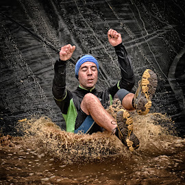 Try To Keep My Shoes Dry ! by Marco Bertamé - Sports & Fitness Other Sports ( water, differdange, splash, splatter, 2015, drop, eyes closed, luxembourg, mud, sliding, strong, dirty, strongmanrun, man )