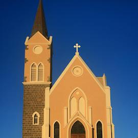 Ein feste burg... #felsenkirche #church #luderitz #namibia #canon #canon400d #lategram #2012 #toer #menseselense by Deon Strydom - Buildings & Architecture Places of Worship