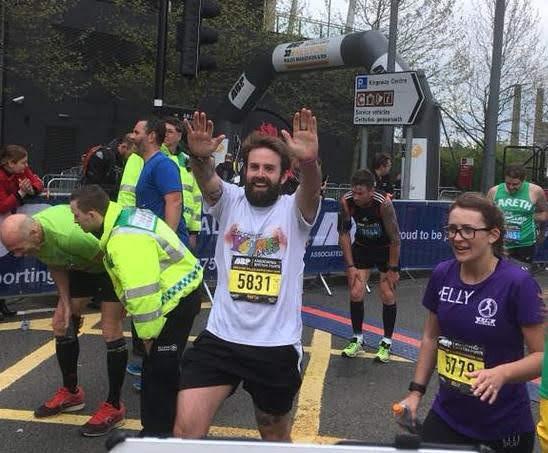 Martin ran in the Newport Marathon