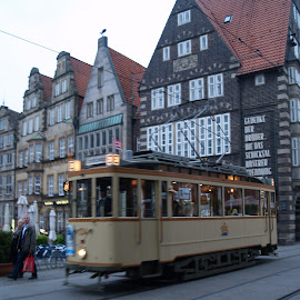 tram by Ester Ayerdi - Transportation Other ( history, transport, bremen, metro, train, germany, tram, transportation, heritage, historic, city )