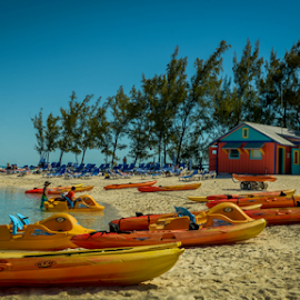Cococay Beach by Joseph Law - Transportation Boats ( footprints, sand, blue sky, stall, boats, house, beach, bahamas, cococay )