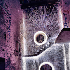 twin blaze by Damien Brearley - Abstract Fire & Fireworks ( swat photography, spinning, steel wool, steel, heat, light, fire )